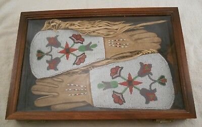 1920's Native American Beaded Leather Gauntlets / Gloves (Rare Offering )