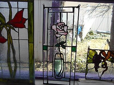 Stained Glass Window Panel  Princess Pink Royal Rose Beveled Frame