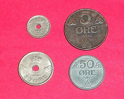 Norway WWII era coins: 1937 10 Ore, 1943 5 Ore, 1944 50 Ore, and 1945 50 Ore