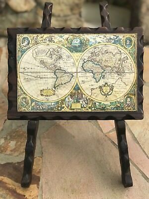Map of the world oceans antique handmade Spain tripod