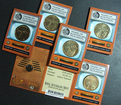 2006 $1 Full set 50 years TV series, MM- TV,S,M,B,C,  5 coins, UNC.