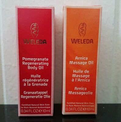 2 x WELEDA massage body Oil New in Box 10ml travel / trial size