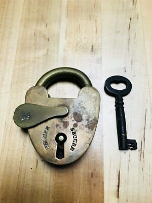 Securr Antique Brass Pad Lock with Key, Works Vintage Padlock Railroad