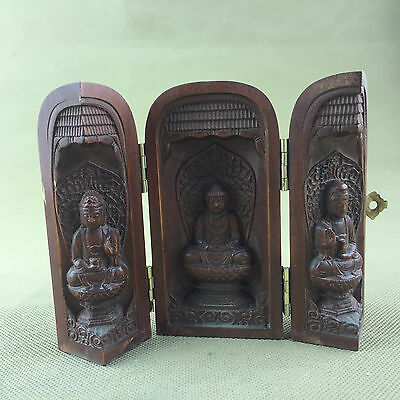 Vintage buddha statues box, special boxwood with inner sculpture buddhas statue