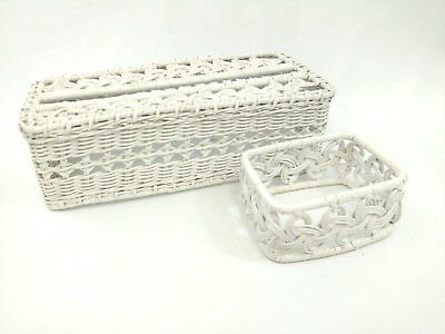 Vintage White Wicker Tissue Box Cover And Soap Dish Set