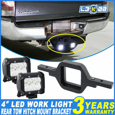 2x 4inch 30W PHILIPS LED Work Light Flood + Rear Tow Hitch Mount Bracket Reverse