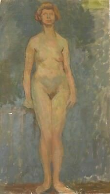 Fine Large Early 20th century English School Studio Nude Portrait Lady Painting