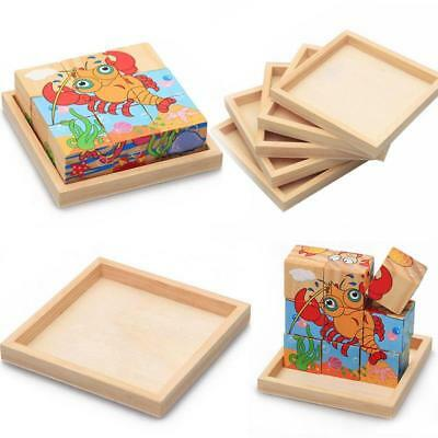 Wooden Nine Puzzle Box Six-sided Jigsaw Tray Dedicated Bottom Kids Baby Toys