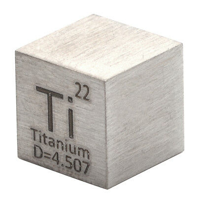 99.5% High Purity Cube Titanium Ti Metal Carved Element Periodic Table 10mm