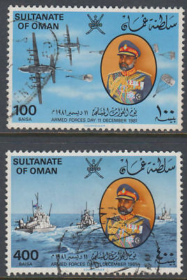 Oman 1981 used Mi.225/26 Schiffe Ships Flugzeug Armed Forces Armee [gb439]