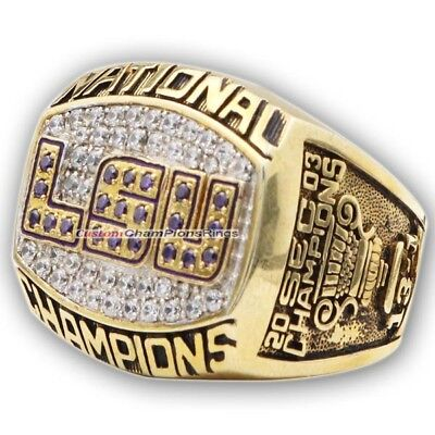 2003 LSU Tigers Men's Football NCAA National College Championship Ring. Solid