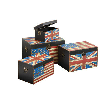 UK & US Flag Print Wooden Trunks Set of 4 Chest Sizes Lid Lock Home Storage