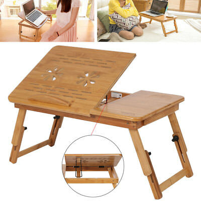 Bamboo Laptop Bed Desk Table Multi-Function Foldable W/Cooling Hole Holder Tray