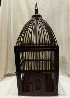 Vintage Decorative Large Victorian Domed Bent Wood Bird Cage Two Doors Tall $400