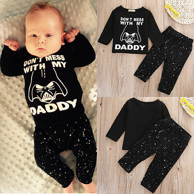Dont Mess With My Daddy Infant Baby Boys Star Wars T shirt+Pants Outfits Clothes