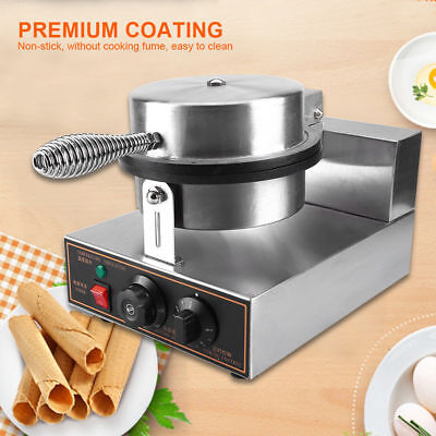 220V Electric Commercial Nonstick Waffle Maker Baker Egg Roll Making Machine SS