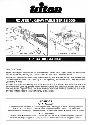 Triton Router-Jigsaw Table Series 2000 Operating Manual