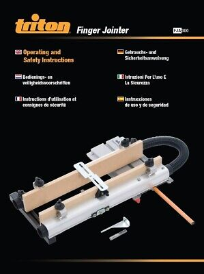 Triton Finger Jointer FJA300 Operating & Safety Instructions