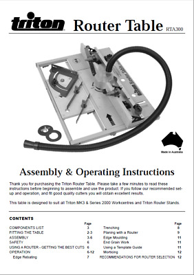 Triton Router Table RTA300 Assembly & Operating Instructions