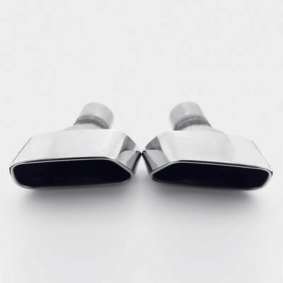 "Pair 2.25"" Inlet Slant Cut Square Outlet T304 Stainless Steel Exhaust Tips"
