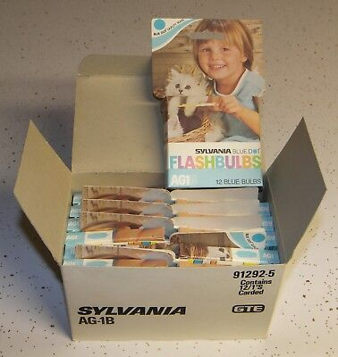 144 Vintage Sylvania AG-1B Blue Flashbulbs Flash bulbs full case