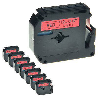 """8 Pack MK 431 M-K431 Black on Red Label Tape for Brother P-Touch PT-85 1/2"""" 12mm"""