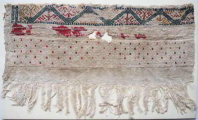 15-16C Antique Textile Fragment -Dyeing and Weaving  2
