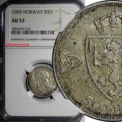 NORWAY Haakon VII Silver 1909 50 Ore NGC AU53 1st Year Type BETTER DATE KM# 374