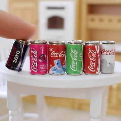 6PCS Mini 1/6 Scale Dollhouse Miniature Coke Drinks Model Pretend Play Doll Food