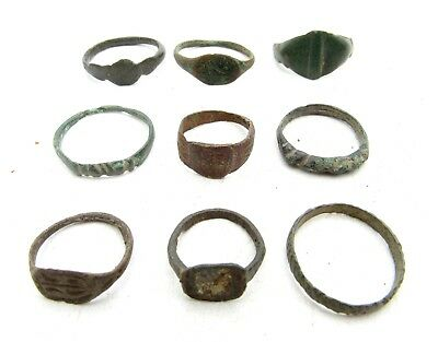 Lot Of 9 Roman / Medieval Bronze Rings For Cleaning - Wearable Stunning - C256
