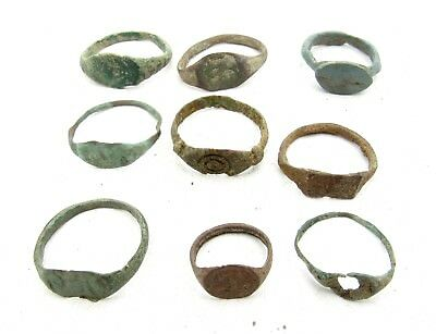 Lot Of 9 Roman / Medieval Bronze Rings For Cleaning - Wearable Stunning - C257