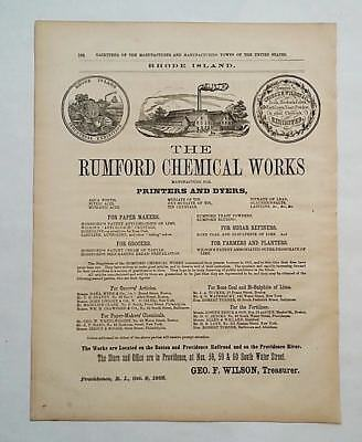 1866 Advertisement The Rumford Chemical Works Baking Powder Horsfords Tartar