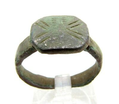 Roman Bronze Legionary Ring W/  X Pattern - Ancient Wearable Lovely - C273