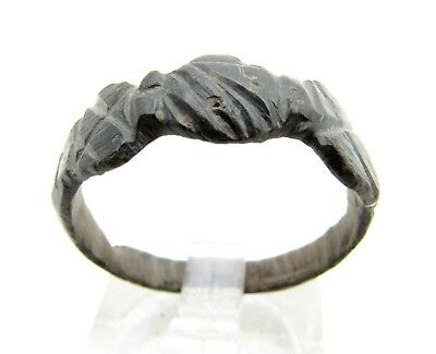 Late Medieval Bronze Ring W/ Clasped Hands - Rare Artifact Wearable - C274