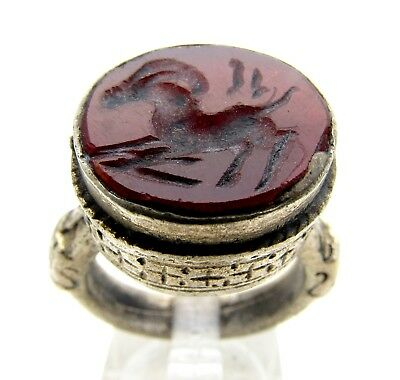 Post Medieval Silver Ring W/ Carved Intaglio Carnelian Stag - Artifact - C278