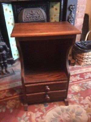 Small oak side table with two drawers