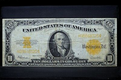 1922 $10 Gold Certificate ✪ Vf Very Fine ✪ L@@k Now Large Gc Ch 325 ◢Trusted◣