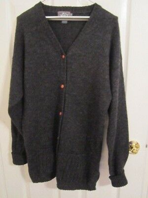 Lrg Knit Cardigan Buttons Wool WOOLRICH VINTAGE Leather Charcoal Sweater Sz w0UxI4I