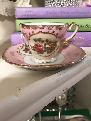 Vintage Made In Japan Pink Gold Tone Floral Tea Cup And Saucer hand painted