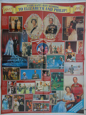 English Royalty Queen Elizabeth Ruby Wedding Anniversary Poster 1987 Womens Week