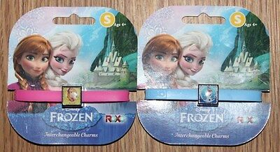 Disney Frozen -Rubber Bracelets Interchangeable Charms - Olaf & Anna - New