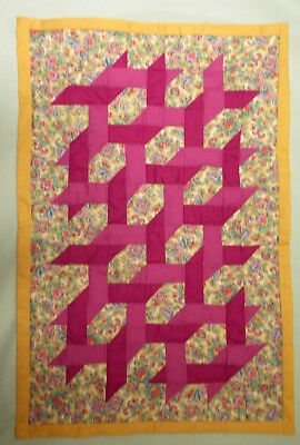 "small ribbon quilt, 19"" x 28"", hand pieced, hand quilted by Aunt Mary"