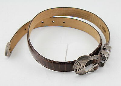 "Vintage Brighton Museum Collection Sterling Silver & Leather Belt 40"" Nr #226"