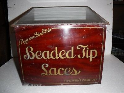 Antique Original Beaded Tip Laces Shoes Counter Top Display Country Store Shonk