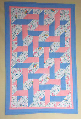 "small ribbon quilt, 17"" x 27"", hand pieced, hand quilted by Aunt Mary"