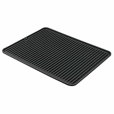 InterDesign Lineo Dish Drainer Draining Board Mat for Kitchen Sinks, Silicone, B