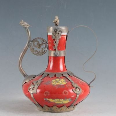Delicate Chinese Painted Silver inlay Porcelain Handmade Dragon Teapot SL
