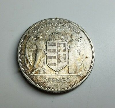 1930 HUNGARY 5 PENGO - Very Uncommon Silver Crown Coin -