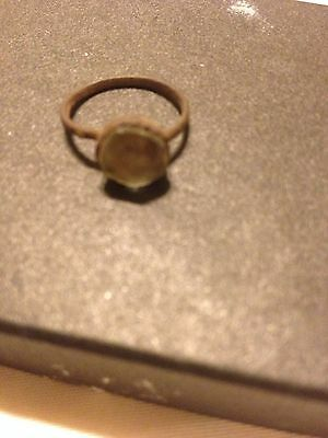 Ancient Medieval Bronze Ring With Stone Excavated In The Balkans