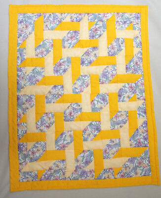 "small ribbon quilt, 21"" x 27"", hand pieced, hand quilted by Aunt Mary"